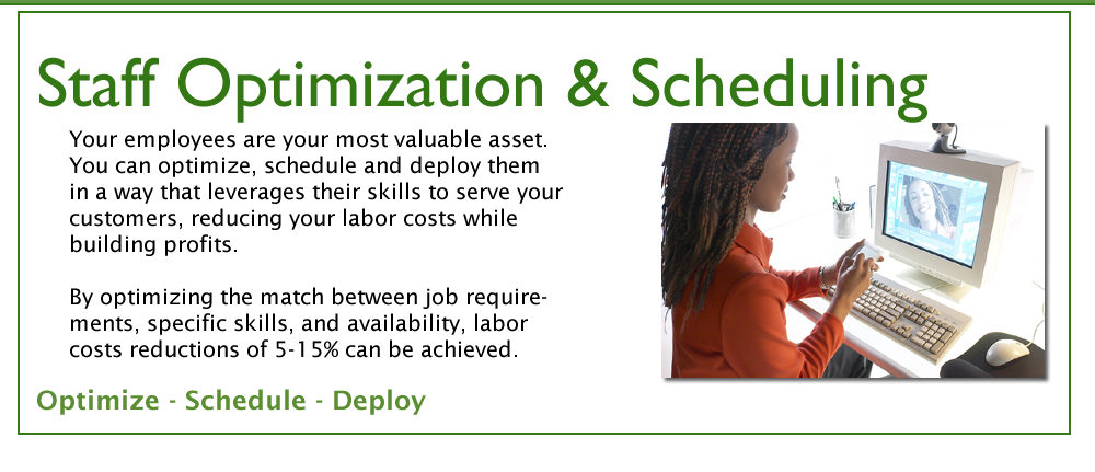 Staff Optimization and Scheduling